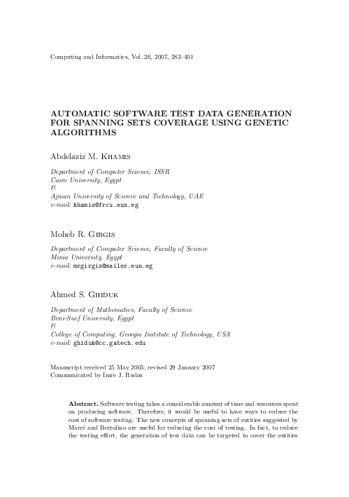 Automatic Software Test Data Generation for Spanning Sets